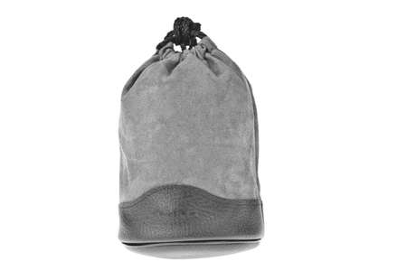 Bag, gray velvet pouch isolated on white background photo