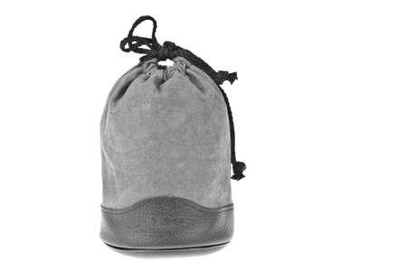 Bag, gray velvet pouch isolated on white background Stock Photo - 10532997