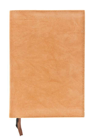 scholarly: One brown velvet book with bookmark isolated on white background Stock Photo