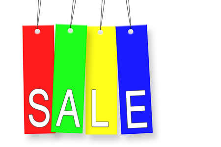 Sale tags hanging on white background Stock Photo - 10528338