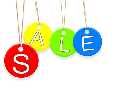 Colorful Sale tags hanging on white background Stock Photo