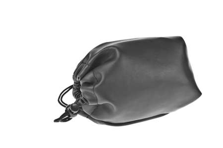 Bag, leather black pouch isolated on white background Stock Photo - 10796235