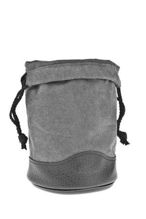 Bag, gray velvet pouch isolated on white background Stock Photo - 10794219