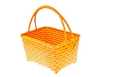 interleaved: wicker plastic basket isolated on white background