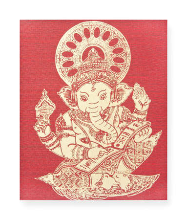 ancient yoga: Ganesh, Hindu God on silk Stock Photo