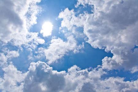 雲と太陽と青い空 写真素材