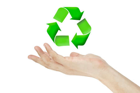 recyclable: Recycle logo concept and hand Stock Photo