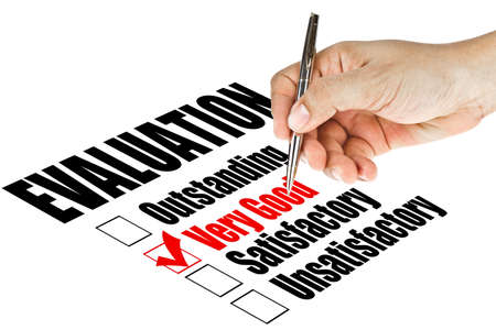 report card: evaluation quality survey Stock Photo