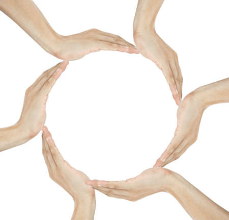 human hands making circle with copy space in the middle