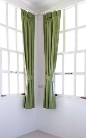 window frame and curtain