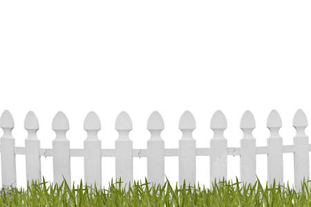 White fence and grass on white background photo