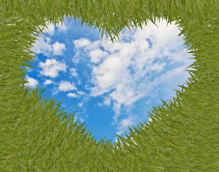 green grass with heart shape frame Stock Photo - 11769432