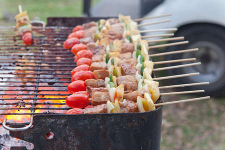 Grilling fresh meat and vegetables as bbq on grill