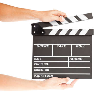 film clapper  board with space and hand photo