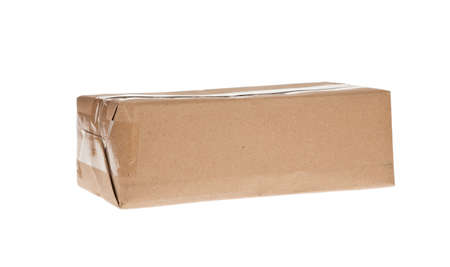 brown box with tape for shipping photo