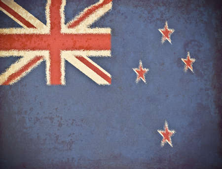 old grunge paper with New Zealand flag background photo