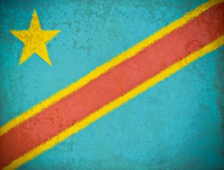 old grunge paper with Democratic Republic of the Congo flag background photo