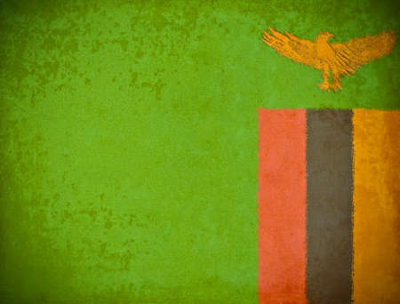 zambia flag: old grunge paper with Zambia flag background