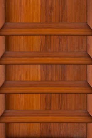 Empty wood shelf on wooden wall photo