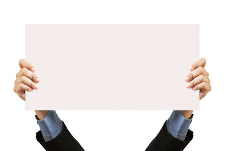 businessman holding blank sign and hand on white Stock Photo - 12545195