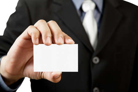 Business man holding blank business card isolated on white Stock Photo - 12545193