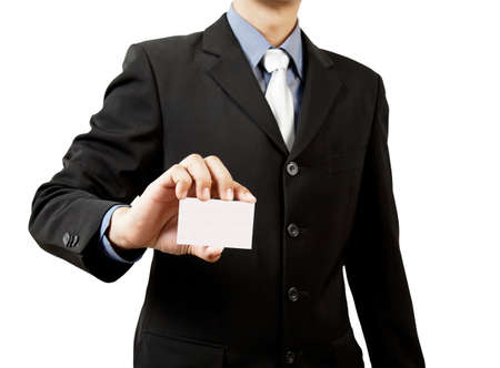 Business man holding blank business card isolated on white photo
