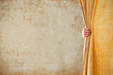 open curtain and grunge background photo