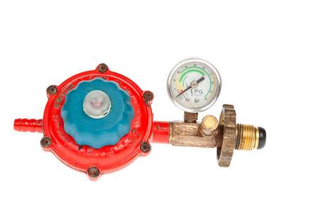 regulator: LGP Gas regulator on white background Stock Photo