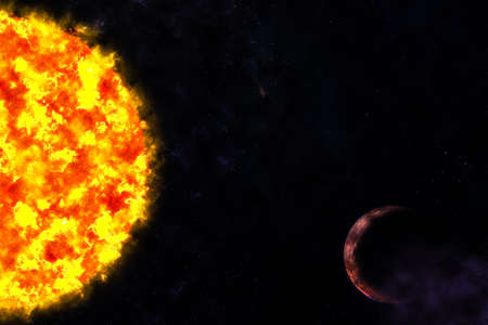 Sun and planet in galaxy space Stock Photo - 13246620