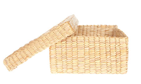 interleaved: open wicker basket isolated on white background Stock Photo