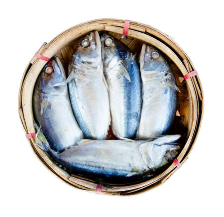 Mackerel fish in bamboo basket Stock Photo - 13550855