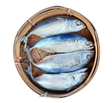 Mackerel fish in bamboo basket Stock Photo - 13550848