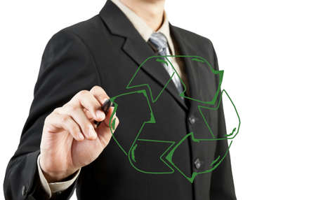 Business man draw recycle recycling sign photo