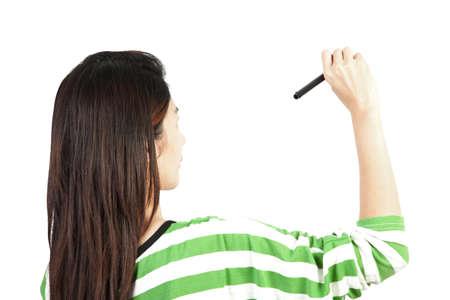 femme dessin: femme dessinant ou en �crivant Banque d'images