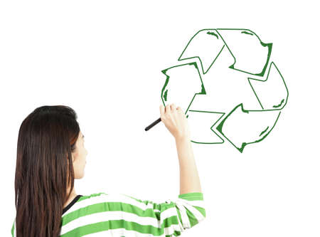 woman draw recycle recycling sign on white background Stock Photo - 13855939