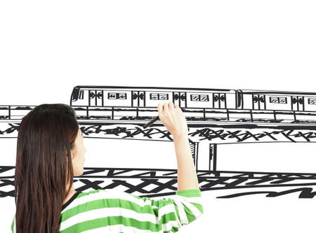 woman draw train transportation and cityscape Stock Photo - 13855941