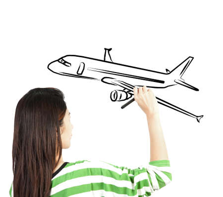 woman draw plane transportation photo