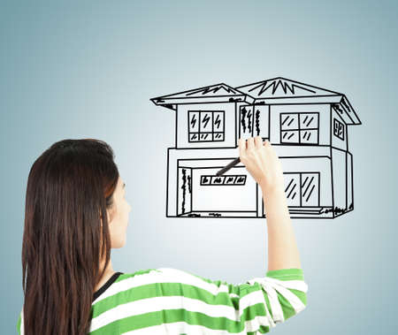 woman draw house photo