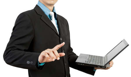 businessman hand pushing and notebook Stock Photo - 13816648
