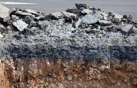 Layer soil beneath asphalt cement concrete photo