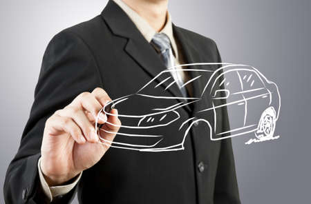 Business man draw car transportation photo