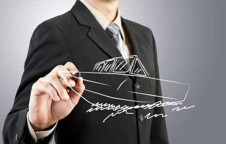 Business man draw boat  transportation photo