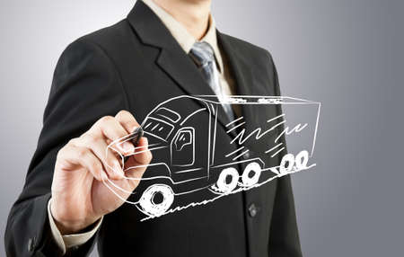 Business man draw truck  transportation Standard-Bild