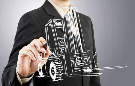 Business man draw forklift  transportation photo