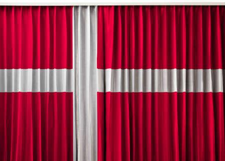 Denmark flag on curtain Stock Photo - 14180785