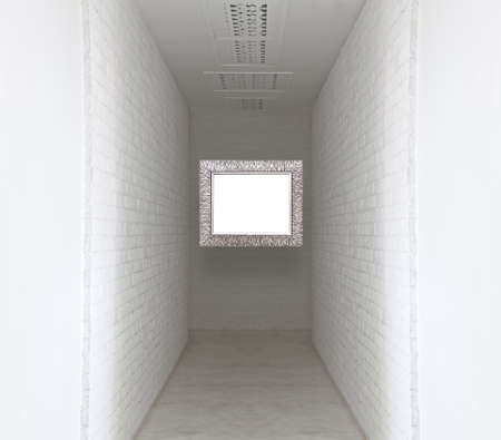 proto: Picture frame on white brick wall and walk way