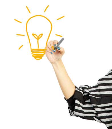 woman drawing light bulb idea concept photo