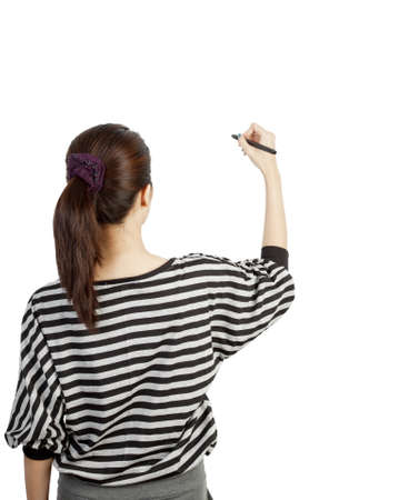 woman drawing or writing on white background photo