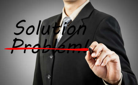 Motivation concept  Businessman write the word problem and solution Stock Photo