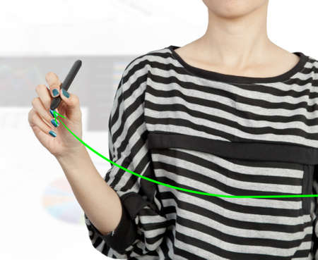 woman hand drawing chart green arrow photo